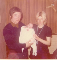 Image titled Robert and Marlene Finnigan at Robert Jnr's Christening, April 1969.