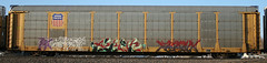 EKZAM, AVERT, FRANK  UNFINISHED (FreshySnapper) Tags: railroad art train graffiti artwork graf rail trains graff burner autorack mfk avert autoracks autoraxx
