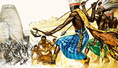 African Warriors (cool-art) Tags: africa wall drums compound ruins cattle horns axe zimbabwe cloak spear ankole wardance monomotapa bantutribesmen