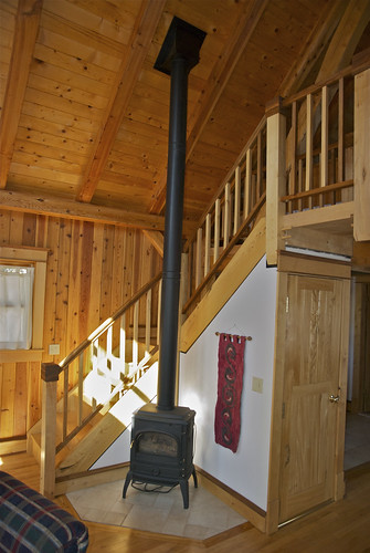 heating stove and loft stairs