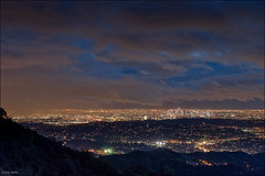 Megacity of angels (Lucas Janin | www.lucasjanin.com) Tags: california city longexposure blue light red sky orange usa cloud color building night iso200 losangeles nikon downtown glendale outdoor lumire ciel f90 nikkor nuage nuit ville lightroom 70mm longueexposition megacity 40sec mgapole nikond700 lucasjanin afsnikkor2470mmf28ged