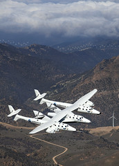 VSS Enterprise First Flight. Photo by Mark Greenberg (Virgin Galactic) Tags: ca usa mojave richardbranson burtrutan markgreenberg whiteknight2 spaceship2 vssenterprise