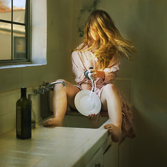 douche (brookeshaden) Tags: window water kitchen soap dress counter dish sink robe wash housewife brookeshaden