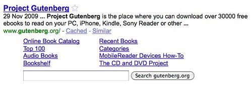 The Project Gutenberg can be searched in a Google result list