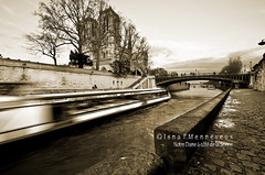 passing through you.. (Isna On/Off) Tags: paris france church sepia river boat cathedral notredame 1001nights bateau fleuve d90 kartpostal 1024mm laseinne