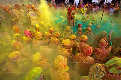 Cloud of Colors (Himanshu Khagta) Tags: people cloud india green colors yellow festival colours photojournalism powder event tradition krishna holi barsana radha pradesh uttar nand mathura gaon festivalofcolors khagta himanshukhagta