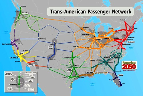 high-speed rail networks suggested by megaregions (by: America 2050)