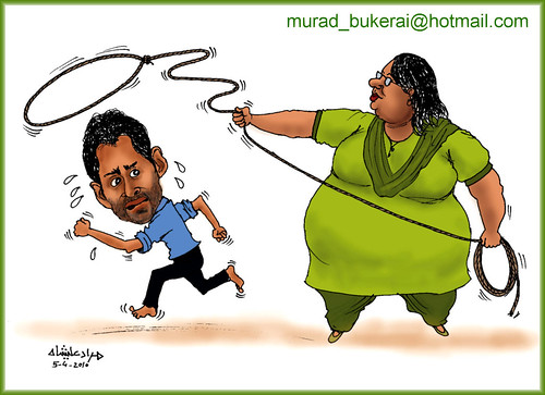 Cartoon showing Shoaib and Ayesha