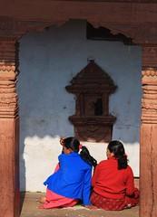 Almost symmetrical (stevefhobbs) Tags: nepal two square temple women looking symmetry holy almost symmetrical kathmandu pillars durbar indianepal