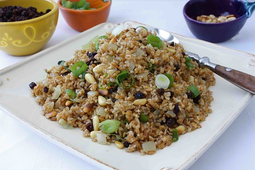 Spiced Bulgur Pilaf Recipe with Currants & Pine Nuts