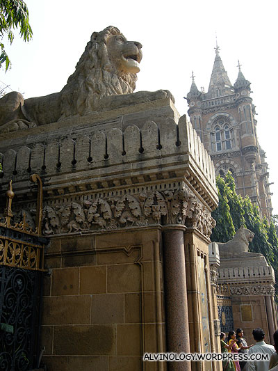 Majestic stone lions outside the building