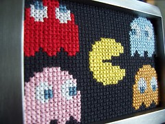Pacman & Ghosts Family Portrait (enders_princess) Tags: crossstitch handmade framed decoration gamer pacman videogame ghosts nes etsy endersprincess