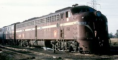 Pennsylvania Railroad EMD model E 8 passenger diesel locomotives. Circa mid 1960's.