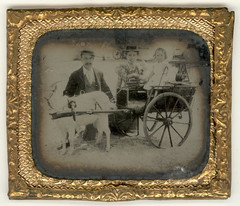 Family with small girl in goatcart- framed tintype (Rescued by Rover) Tags: framed goat tintype cart goatcart