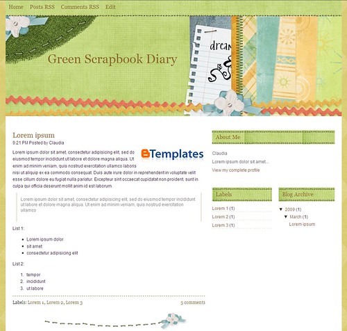 Green Scrapbook Diary