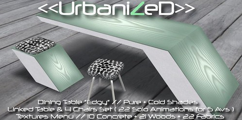 """<<UrbanizeD>> Dining Table """"Edgy"""" // Pure + Cold Shades"""