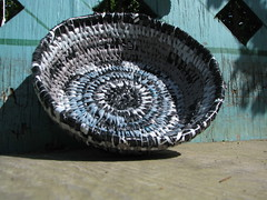 black basket (sarahracha) Tags: basket recycled plasticbags blacksilver plarn