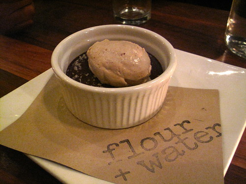 chocolate budino with espresso-caramel cream & sea salt