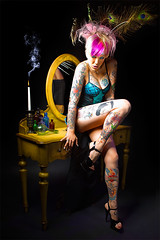 Body Art (Bobby Haws) Tags: sexy girl dark candle desk feather peacock tattoos kellyharrison bobbyhaws roberthaws
