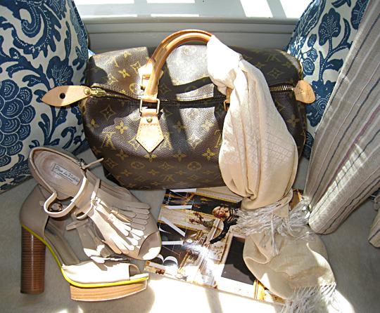 Pour La Victoire platforms+LV bag+Bazzar Mag+butera pillows