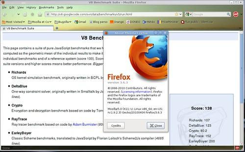 v8 : 138 points avec Mozilla Firefox 3.6.3