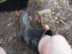 Me - mowing the grass in my wellies and shorts - 3 (DONNYB-UK) Tags: black wet grass legs boots bare lawn rubber nora shorts wellies wellingtons mowing