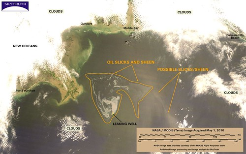 Deepwater Horizon Oil Spill - MODIS/Terra Detail (with interpretation), May 1, 2010