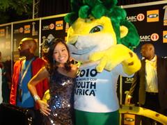 Jen Su with Zakumi, the World Cup 2010 mascot ...