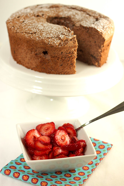 Chocolate Angel Food Cake and Strawberries