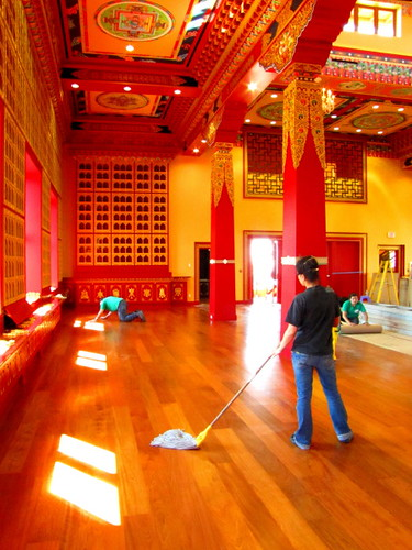 Cleaning crew at Thrangu Monastery Canada, No. 5 Road Richmond BC