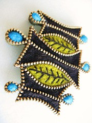 A retro inspired brooch (woolly  fabulous) Tags: black green wool pin recycled brooch felt retro zipper ecofriendly