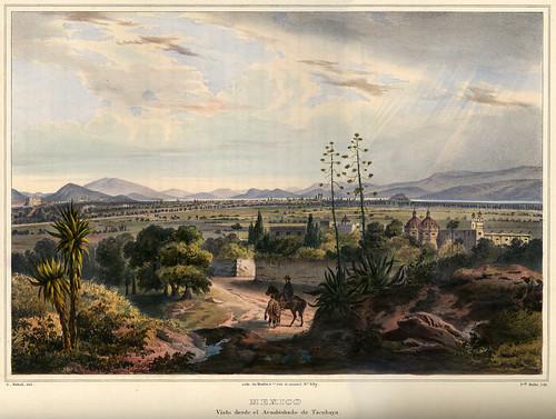 010- Mexico vista desde el arzobispado de Tacabuya-Voyage pittoresque et archéologique dans la partie la plus intéressante du Mexique1836-Carl Nebel
