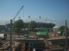 Stadium through the fence (Andy Wilkes) Tags: roof building london cup cake danger work landscape site construction crane stadium centre land olympic olympics scape stratford 2012 aquatics londonist