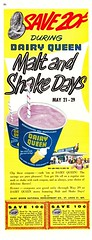 """Dairy Queen Malt and Shake Days!"" (saltycotton) Tags: family vintage magazine children restaurant fastfood ad desserts advertisement icecream 1950s 1957 dairyqueen customers coupons thesaturdayeveningpost"