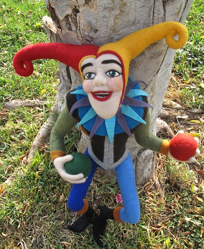 "Needle Felted Jester, 27"" by YaxchiArt"