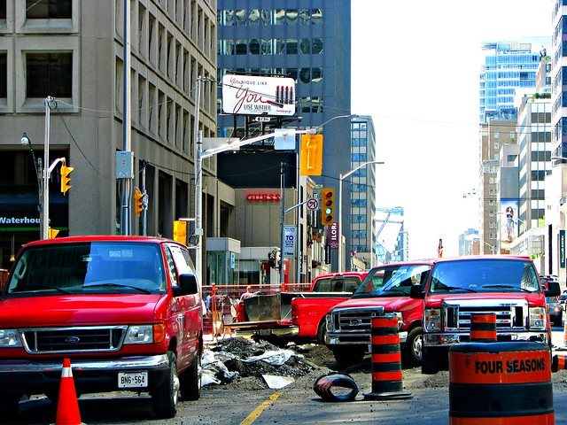 auto red toronto ontario canada cars ford car truck work four construction automobile downtown seasons vehicle vans trucks van f350 econoline f250 e150 e350 e250
