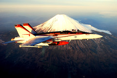 Flying Over Mt. Fuji (US Navy) Tags: japan plane fighter aviation military militar montaa usnavy mtfuji aviacin unitedstatesnavy portaaviones