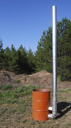 Down-draft barrel kiln
