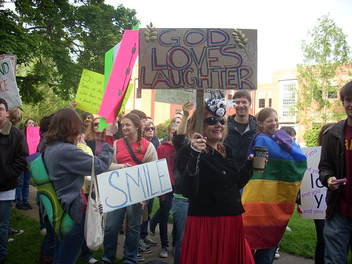Westboro Baptist counter-protesters at Portland's Grant High School