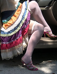 Me, Mexican colors, white stockings, pink high heels. (Sugarbarre2) Tags: woman car auto people sun urban nikon summer hot usa old girl mom wife party show s granny me amiga mujer dark light flash cool mules rainbow
