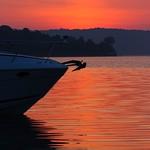 boat on Lake Monroe at dawn thumbnail