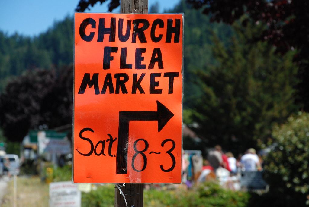 church flea market sign