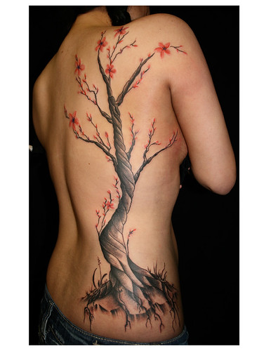 a cherry blossom tree her first tattoo
