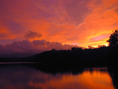 Price Lake Sunset (BlueRidgeKitties) Tags: sunset orange cloud lake black reflection silhouette yellow landscape purple northcarolina explore blueridgeparkway grandfathermountain pricelake westernnorthcarolina southernappalachians ccbyncsa julianpricememorialpark canonpowershotsx10is