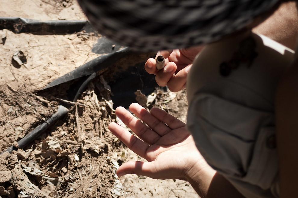 Un casquillo de bala de fusil fue encontrado por uno de los visitantes del Fortín Toledo frente a una tuca, el casquillo correspondería a las utilizadas por los Paraguayos en la defensa del Fortín. (Elton Núñez - Fortin Toledo, Paraguay)