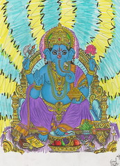 Ganesh. (The Art Bizarre) Tags: elephant abstract pencil hope ganesha arms lotus god buddha buddhist indian faith surreal fortune believe ganesh marker crown meditation jewels prismacolor visionary prisma