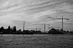 Cranes (elrina753) Tags: holland netherlands amsterdam buildings blackwhite construction thenetherlands canals cranes constructioncranes northholland oldcenter
