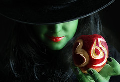 Day Three Six Five!!! (Lou Bert) Tags: red portrait green art halloween apple girl face make up self costume paint day witch makeup wicked finished 365 poison