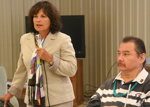 Rural Development Elsie Meeks provides comments during the ceremony while Tribal Chairman Michael Selvage listens.