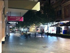 an empty Perth hay st mall on a late night shopping night, with no one around - the perfect experience